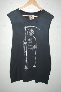 Super cool Grim Reeper Skeleton Skull chill out thrashed #punk #grunge sleeveless tee.