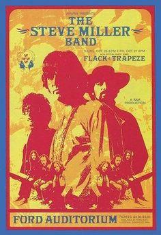 Rock Posters, Music Posters, Concert Posters, Steve Miller Band, Best Rock, Auditorium, Classic Rock, Artist Art, Detroit