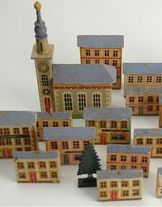 1920's German hand-painted miniature wooden toy village