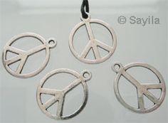 www.sayila.fr - Pendentif/Breloque de métal, peace and love 21x17mm