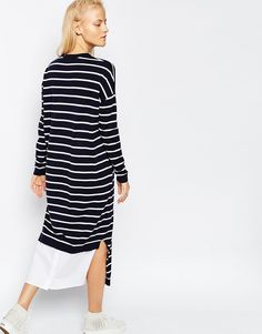 Image 1 of ASOS WHITE Stripe Knitted Midi Dress
