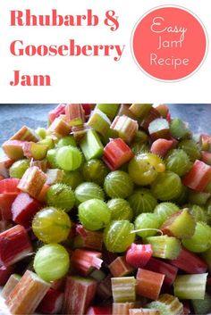 Rhubarb and Gooseberry Jam Recipe, Easy microwave jam recipe. Gooseberry and Rhubarb jam. Gooseberry recipes. Rhubarb recipes.