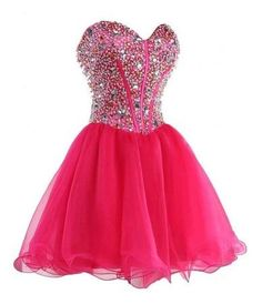 Ball Gown Homecoming Dress Tulle Beaded Hot Pink Cocktail Dresses Short Prom Gowns from BanquetGown Short Graduation Dresses, Cute Prom Dresses, Dresses Short, Trendy Dresses, Homecoming Dresses, Party Dresses, Dress Prom, Lovely Dresses, Holiday Dresses