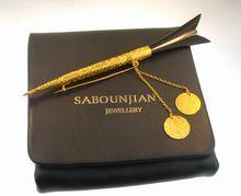 22 Karat Gold  Ruby Middle Eastern Sword Knife Brooch Pin Saboujian Jewelers