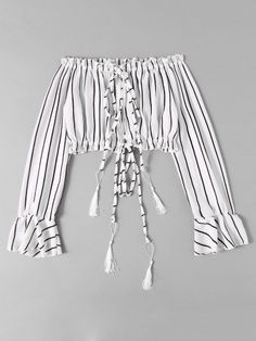 Shop Bardot Drawstring Split Striped Crop Blouse at ROMWE, discover more fashion styles online. Teen Fashion Outfits, Hippie Outfits, Kpop Outfits, Outfits For Teens, Trendy Outfits, Trendy Teen Fashion, Cute Comfy Outfits, Cute Girl Outfits, Cute Summer Outfits