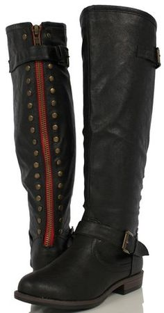 9ac945e86f01 Bamboo Black Faux Leather Knee High Red Zipper Riding Boots Montage-83  $56.99 #sexy