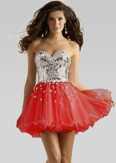 Short Red Strapless Sweetheart Sequined Tulle Prom Dress