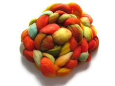 Hand Dyed Roving BFL Orange Red and Aqua  by flickertailfibers, $16.00