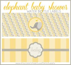 DIY PDF Baby Yellow Baby Shower Elephant Printable Water bottle Label Gender Neutral Boy Girl Baby Shower Supplies Printables Bottle Labels