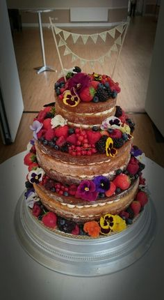 A Berry nice Naked Wedding Cake. From Pirate Baker Berry, Wedding Cakes, Naked, Desserts, Food, Wedding Gown Cakes, Tailgate Desserts, Deserts, Essen