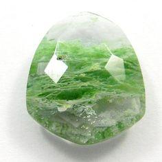 Shining Aqua Crackle Glass 17x20mm shield briolette cut nice gemstone, 12.90CTS #Handmade
