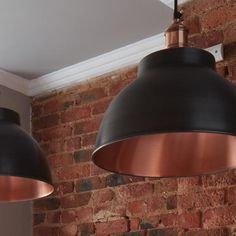 Brooklyn Vintage Metal Dome Pendant Light - Dark Pewter & Copper - - Available w/c November Copper Dining Room, Copper Kitchen, Dining Room Lighting, Wire Pendant Light, Pendant Lighting, Kitchen Extension Open Plan, Extension Ideas, Ceiling Spotlights, Ceiling Lights