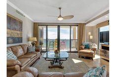 Pretty Gulf-front living room at Navarre Towers Navarre Beach Florida, Florida Beaches, Beach Condo, Beach House, 3d Home, Beach Vacation Rentals, Rental Property, Condominium, Ideal Home