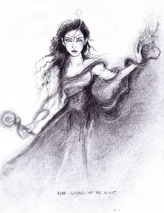 Nyx ~ Goddess of the Night. One of the first and most powerful beings in the universe, Nyx is the daughter of Chaos and sister and consort to Erubus (the God of Darkness). Homer calls her the subduer of gods and men, and relates that even Zeus stood in awe of her.