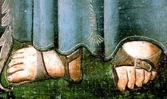 Medieval painting, sandals of Christian monk.