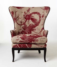 Scottish style inspires five designer chairs- love this one by Patrik Lonn Design, with a fabulous textile by Timorous Beasties