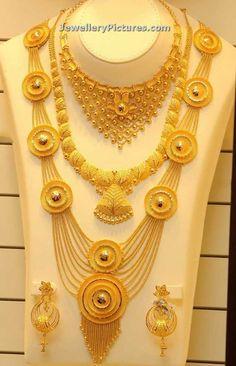 Haram - Page 2 of 9 Latest Indian Jewelry - Jewellery Designs Real Gold Jewelry, Gold Wedding Jewelry, Gold Jewellery Design, Indian Jewelry, Bridal Jewelry, Indian Gold Necklace, Wedding Gold, Gold Necklaces, Diamond Jewelry