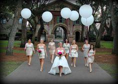 Giant wedding balloons ... fuchsia flowers ... metallic bridesmaid dresses!
