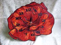 Papírvilág: pipacs alakú óra quillinggel / quilled poppy clock