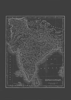 VINTAGE INDIA MAP Blueprint Map of India by EncorePrintSociety