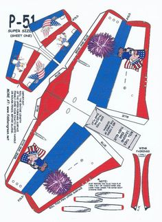 July 4th P-51 Mustang Paper Model page two/>    <p align=