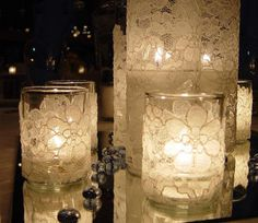Hey! there!,,,well today I want to share these beautiful candles. You can actually make them yourself, just buy the glass figures and the lace, paste the lace