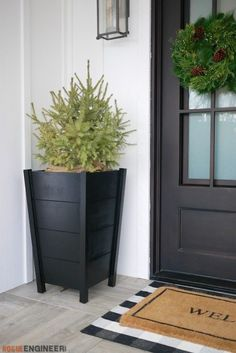 How to Build Modern Tapered Planters DIY - 18 planting Outdoor planters ideas Diy Planters Outdoor, Tall Planters, Modern Planters, Planters For Front Porch, Tall Planter Boxes, Diy Wood Planters, Large Diy Planters, Backyard Planters, Front Porches