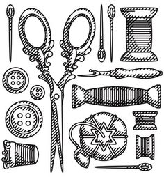Find beauty in this past with this arrangement of old-fashioned sewing tools! Downloads as a PDF. Use pattern transfer paper to trace design for hand-stitching.