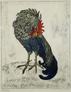 ✨ Walter Klemm, German (1883-1957) - Hahn - Handkolorierter Holzschnitt über Lithographie::: Rooster, hand-colored woodcut and lithograph