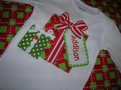 Personalized Christmas Present Gift Applique Long Sleeve Shirt 12m 18m 24m 2T 3T 4T 5 6 7 8. $24.00, via Etsy.