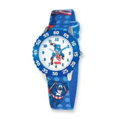 Marvel Captain America Kids Printed Fabric Band Time Teacher Watch $43
