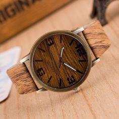 Holzherrenuhren Automatik Luxus Frauen Unisex Holzimitation Pu Leder Daten Beiläufige Quarz Armbanduhr Mode Lässig Uhr 6 Farben Von