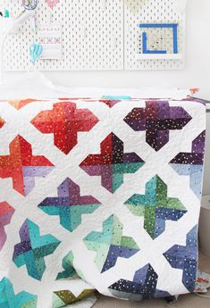 Trellis, a jelly roll, layer cake, or fat quarter quilt in 4 sizes Log Cabin Quilt Pattern, Barn Quilt Patterns, Sewing Pattern Storage, Cluck Cluck Sew, Chicken Quilt, Ombre Fabric, Jelly Roll Quilt Patterns, Fat Quarter Quilt, Miniature Quilts