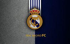 Download wallpapers Real Madrid FC, 4K, Spanish football club, La Liga, logo, Real Madrid CF emblem, leather texture, Madrid, Spain, football