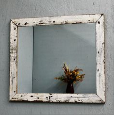 **Beautiful handmade, rustic, shabby chic, vintage style mirror. Made from reclaimed barn wood. Add charm and character to a bedroom, foyer,