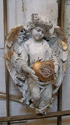 Angel sculpture with rhinestone halo French chic white embellished statue with crown hand painted distressed home decor Anita Spero Statue Ange, Decoration Baroque, Angel Sculpture, I Believe In Angels, Angels Among Us, Angel Statues, Angels In Heaven, Guardian Angels, Angel Art
