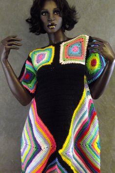 Retro Crochet Dress, Crochet Poncho, Crochet Clothes, Crochet Granny, Beginner Crochet Projects, Crochet For Beginners, This Girl Can, Form Crochet, Yarn Sizes