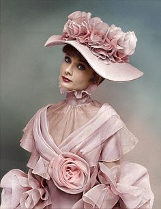 "Audrey Hepburn models the costumes of ""My Fair Lady"" for both photographer & costume designer for the film Cecil Beaton."