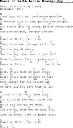 Christmas Songs and Carols, lyrics with chords for guitar banjo for Peace On Earth Little Drummer Boy