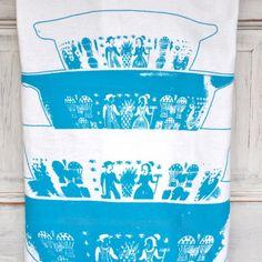 Vintage Turquoise Amish Butterprint Pyrex Flour Sack Tea Towel