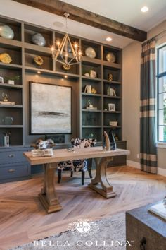 Modern and rustic at-home office inspiration! Love this style. Home Desk, Home Office, Office Inspo, Build Your Dream Home, Custom Homes, Entryway Tables, Villa, Floor Plans, Real Estate