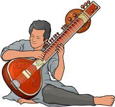 シタール sitar。インドの代表的な弦楽器。共鳴ボディは植物の実が材料(ユウガオ、カボチャ、ヒョウタンなど)。共鳴弦が多数張り巡らせれている。