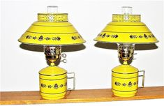 2 Metal Table Lamps Very Cool Retro Metal Mustard Color Lamp Metal Table Lamps, Bedroom Lamps, 50 Years Old, Tole Painting, Cool Stuff, Stuff To Buy, Mustard, Lanterns, Tower