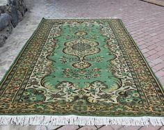 Green Colored Vintage Turkey Rug Handknoted Vintage Rug 6.6 ft x 9.6 ft Bohemian Rug Free Shipping Turkish Rug Decorative Floor Rug Area Rug -    Edit Listing  - Etsy