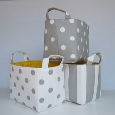 Fabric Basket Organizer Storage Container Bin - Gray with White Polka Dots. $18.00, via Etsy.
