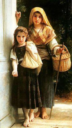 """Petites Mendiantes"" - William-Adolphe Bouguereau, 1880.  Look at the textiles!"