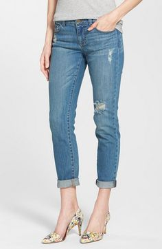 Halogen® Distressed Girlfriend Jeans (Regular & Petite) available at #Nordstrom
