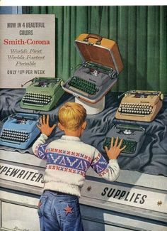 ...because that's what all 10-year-old boys wanted — a Smith Corona manual typewriter with its own carrying case!