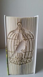 Book Folding Pattern - Bird in Cage  This is a Measure, Mark, Cut and Fold Pattern  Based on a 21cm book height and 399 pages  Photo by pattern tester