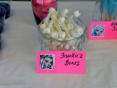 Monster High Party Snacks:  Frankie's Bones.  Pretzels with mini marshmallows on each end and dipped in white chocolate.